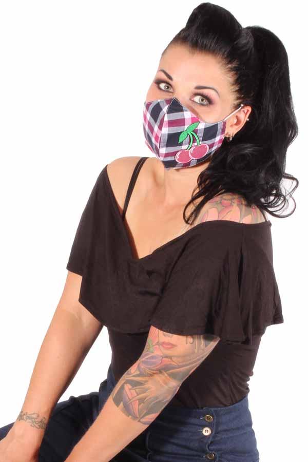 Karo Kirschen Gesichtsmaske Stoffmaske Behelfsmaske Mundmaske 3lagig