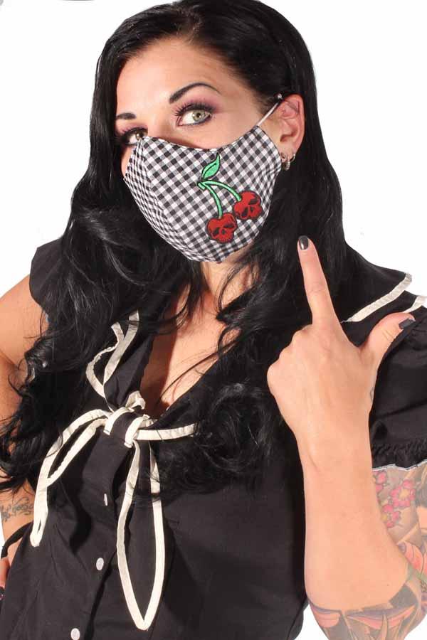 Karo Totenkopf Kirschen Gesichtsmaske Stoffmaske Behelfsmaske 3lagig