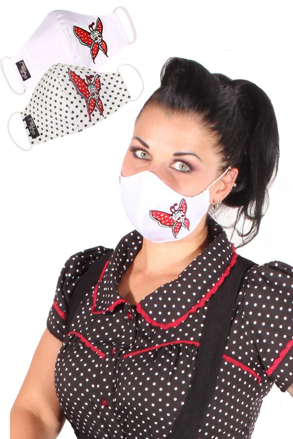 Schmetterling Totenkopf Gesichtsmaske Stoffmaske Skull Behelfsmaske 3lagig