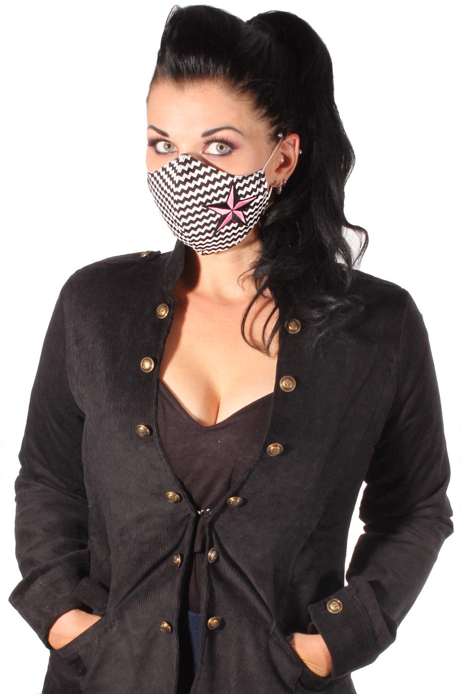 Zickzack Star Gesichtsmaske Stern Stoffmaske Behelfsmaske Mundmaske 3lagig