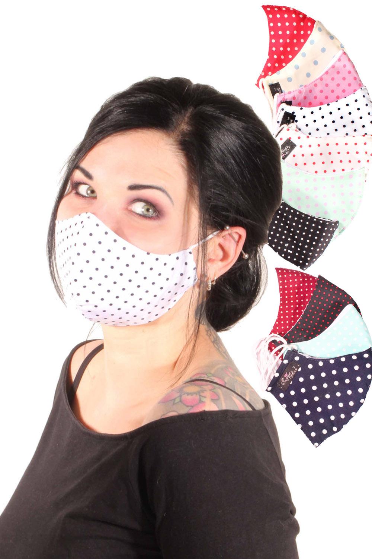 Polka Dots Gesichtsmaske rockabilly Stoffmaske 3lagig