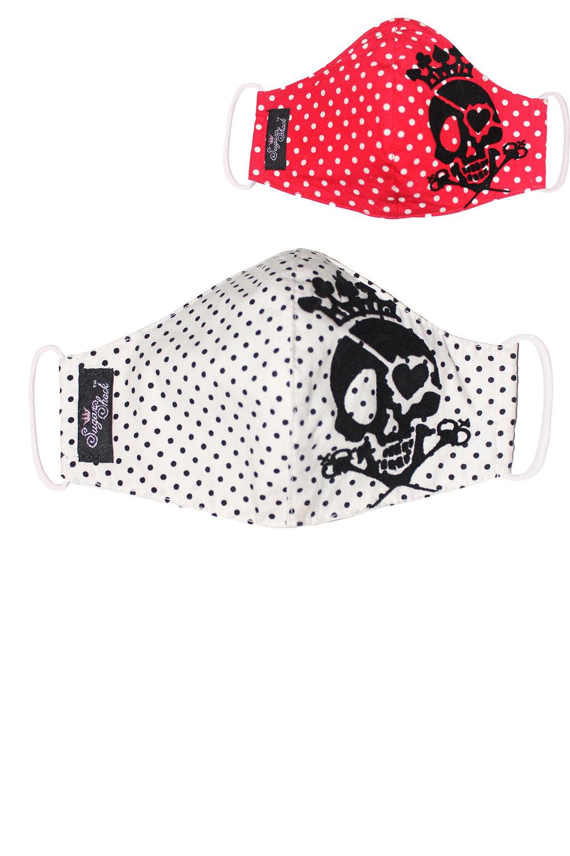Totenkopf Punkte Gesichtsmaske Stoffmaske Behelfsmaske Mundmaske 3lagig