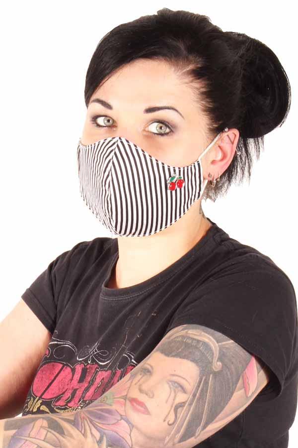 Streifen Cherry Gesichtsmaske Stoffmaske Behelfsmaske Mundmaske 3lagig