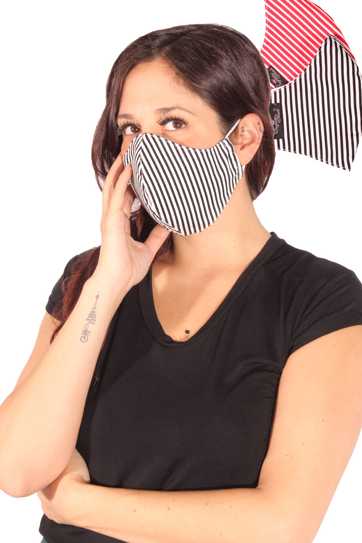 Streifen Gesichtsmaske Mund-Nasen-Maske Stoffmaske 3lagig