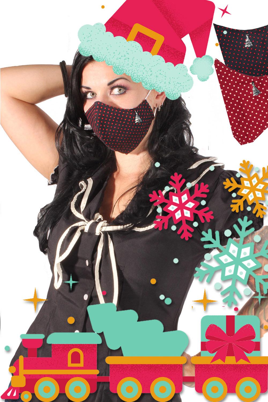 Weihnachten Gesichtsmaske Stoffmaske Behelfsmaske Tannenbaum 3lagig