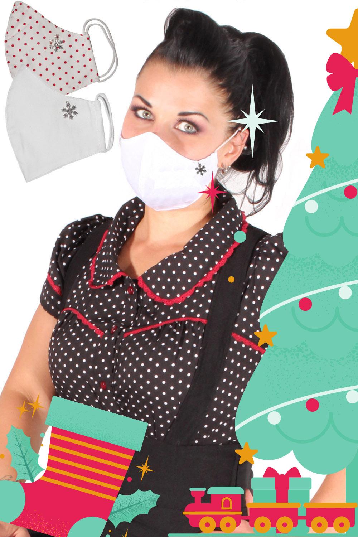 Weihnachten Gesichtsmaske Stoffmaske Behelfsmaske Schneeflocke 3lagig