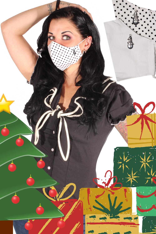 Weihnachten Gesichtsmaske Stoffmaske Behelfsmaske Schneemann 3lagig