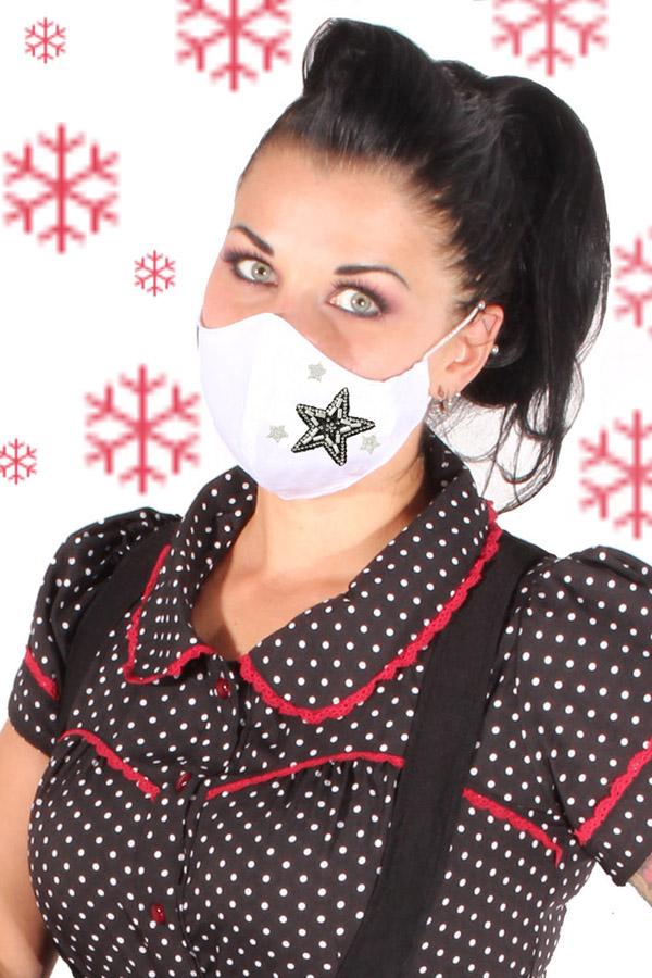 Weihnachten Glitzer Gesichtsmaske Strass Sterne Stoffmaske Behelfsmaske 3lagig