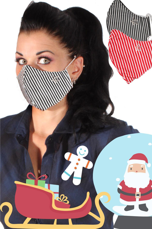 Weihnachten Gesichtsmaske Stoffmaske Behelfsmaske Sterne 3lagig