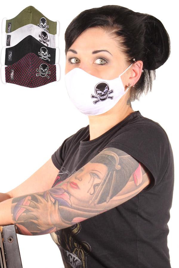 Totenkopf Gesichtsmaske Stoffmaske Behelfsmaske Skull Mundmaske 3lagig