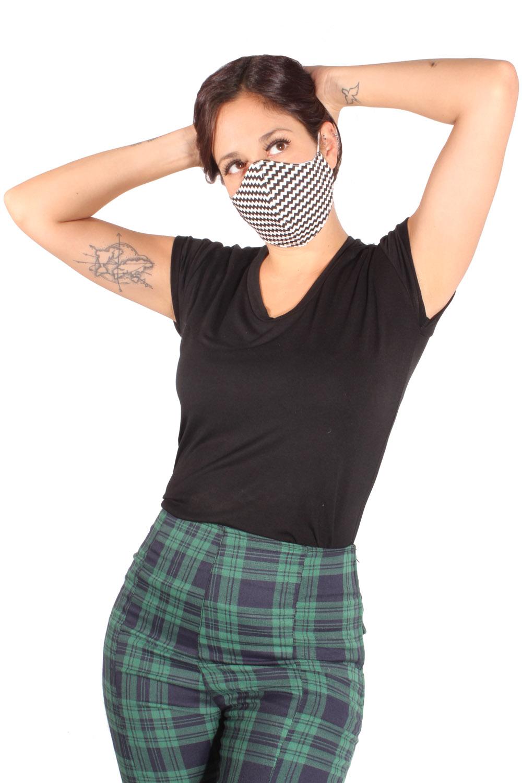 Zickzack Gesichtsmaske Stoffmaske Mund-Nasen-Maske 3lagig