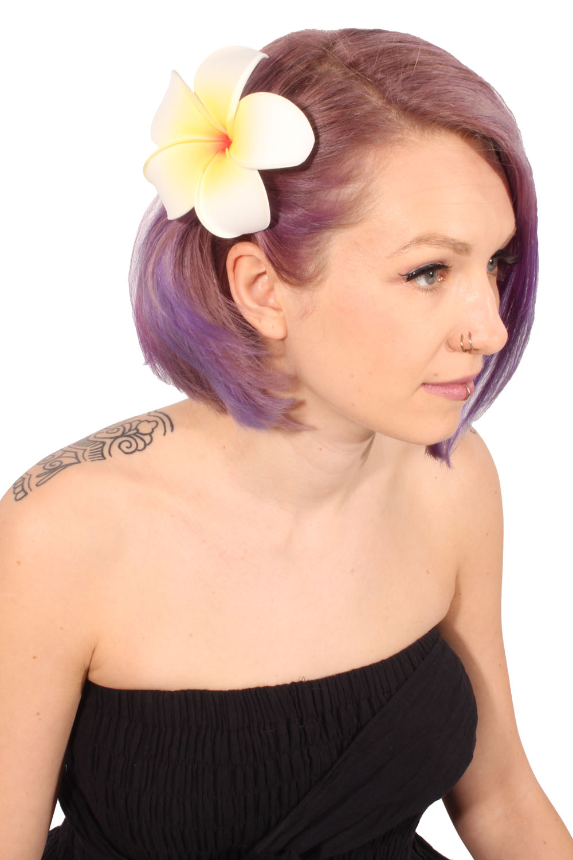 Frangipani Flower Blüte Haarblüte Blume rockabilly Hawaii Haarspange Hairclip