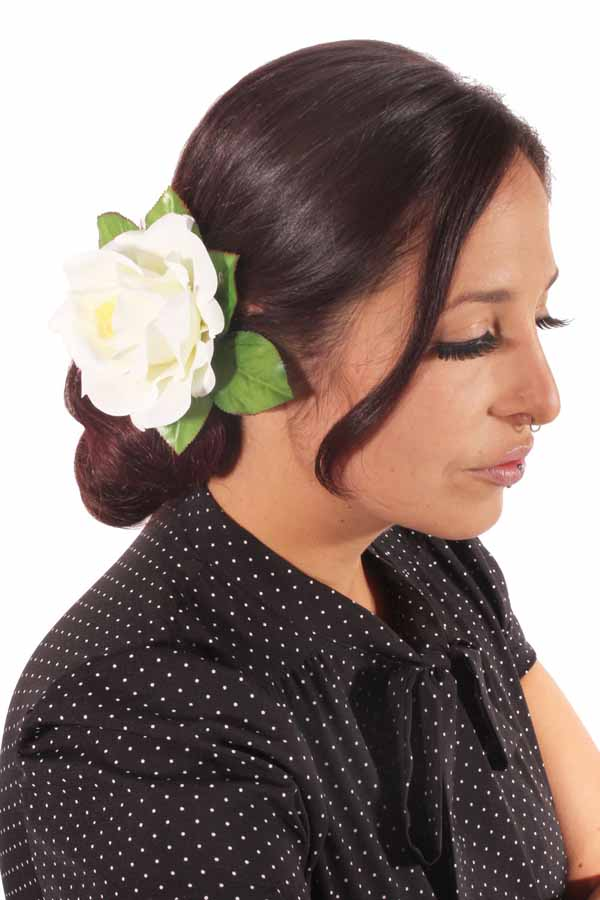Rose Flower Blüte Haarblüte Blume rockabilly Rosen Haarspange Hairclip weiß