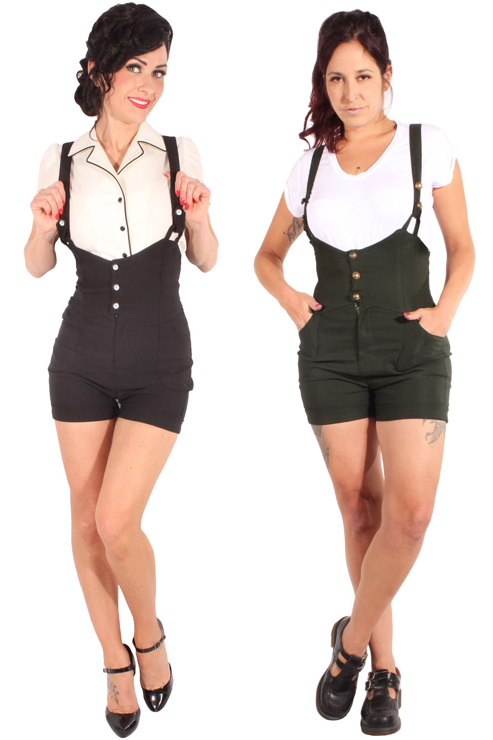 Retro high waist rockabilly Hosenträger Latzhose Uniform Shorts
