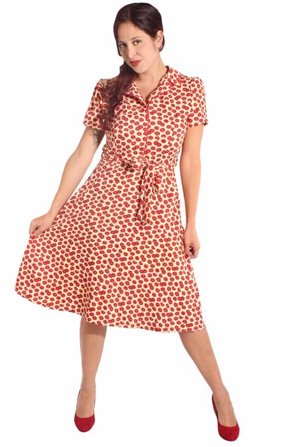 60s retro Flower A-Linie Kleid Puffärmel Blumen Hemdkleid