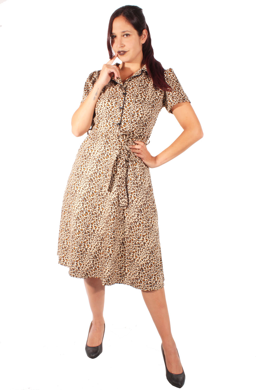 60s retro Leoparden A-Linie Kleid Puffärmel Leo Jerseykleid Hemdkleid