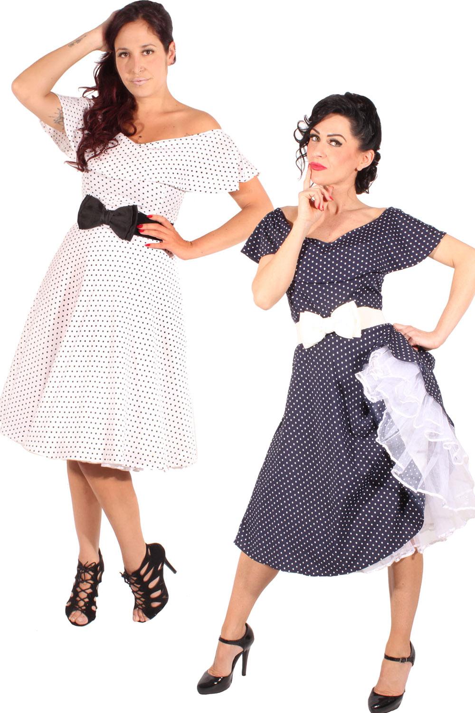 rockabilly Carmen Volant Petticoatkleid Polka Dots Punkte Swing Kleid