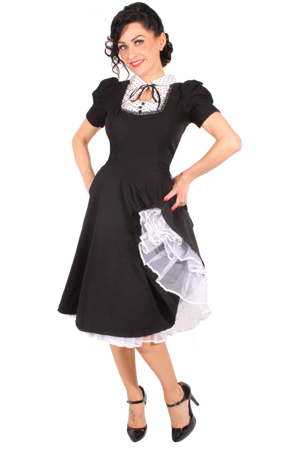 rockabilly French Maid Swing Kleid retro Polka Dots Petticoatkleid schwarz