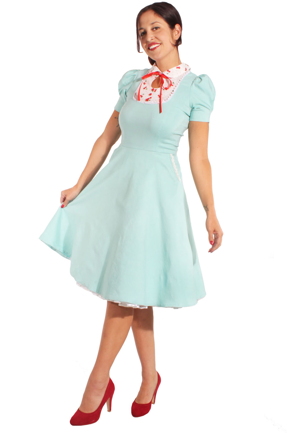 rockabilly Kirschen Swing Kleid Puffärmel Cherry Petticoatkleid mint
