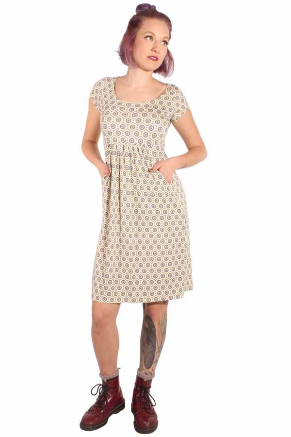 60er Jahre retro Baby Doll Kleid Sommerkleid Jerseykleid creme