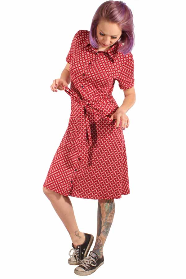 60er Jahre retro A-Form Stretch Kleid Shirtkleid Jerseykleid rot