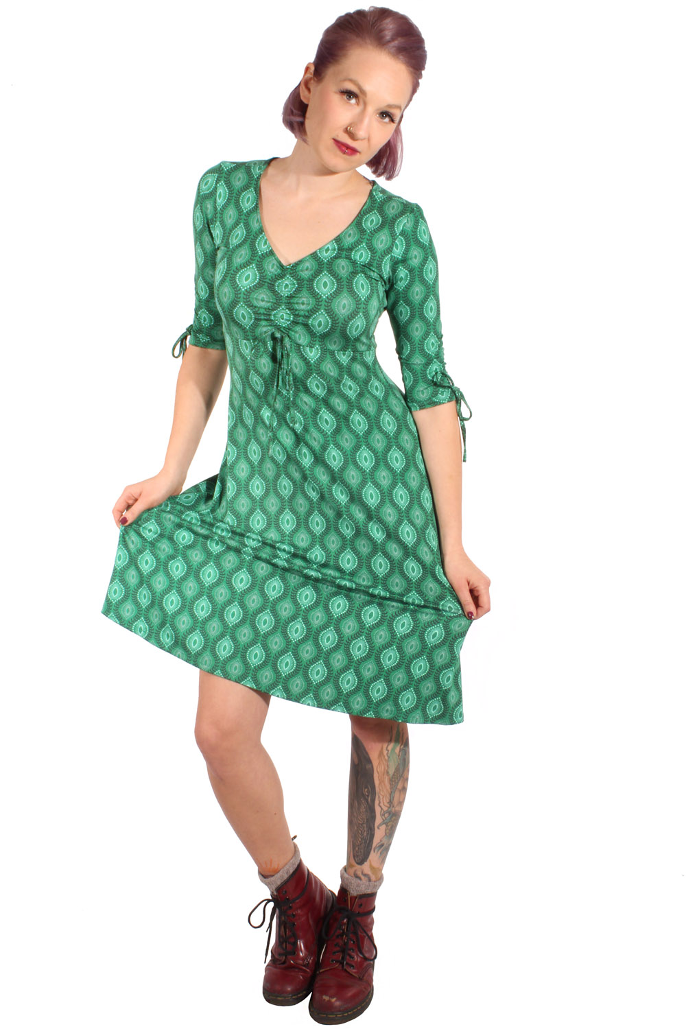 60s A-Linie 3/4arm Stretch Kleid Shirtkleid Jerseykleid grün