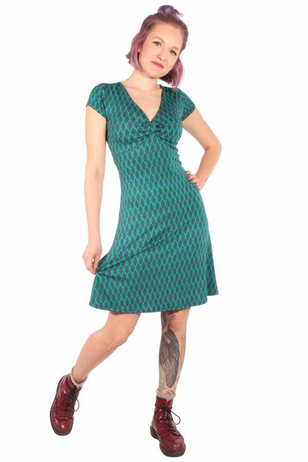 60er Jahre retro A-Linie Stretch Kleid Shirtkleid Jerseykleid petrol