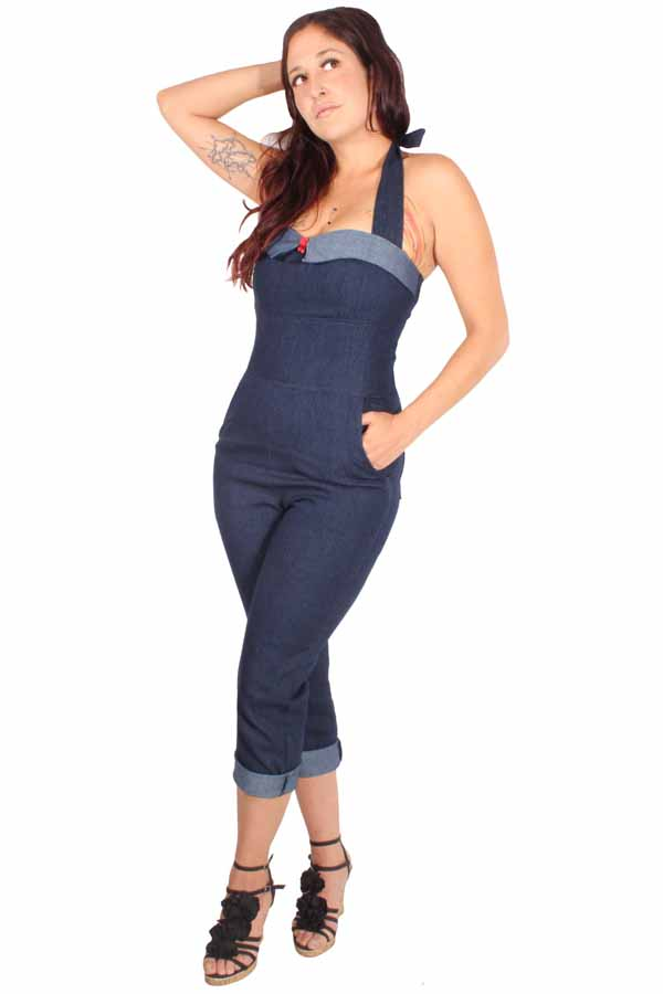 retro Denim Capri Latzhose rockabilly Caprihose Overall Jeans Jumpsuit
