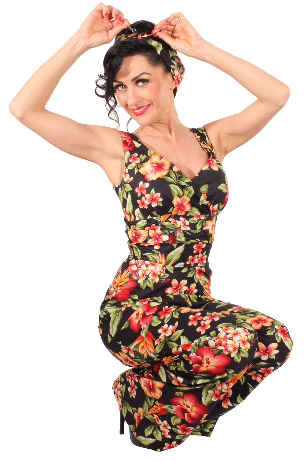 retro Hawaii Hibiskus Blumen Playsuit Marlene Jumpsuit Overall
