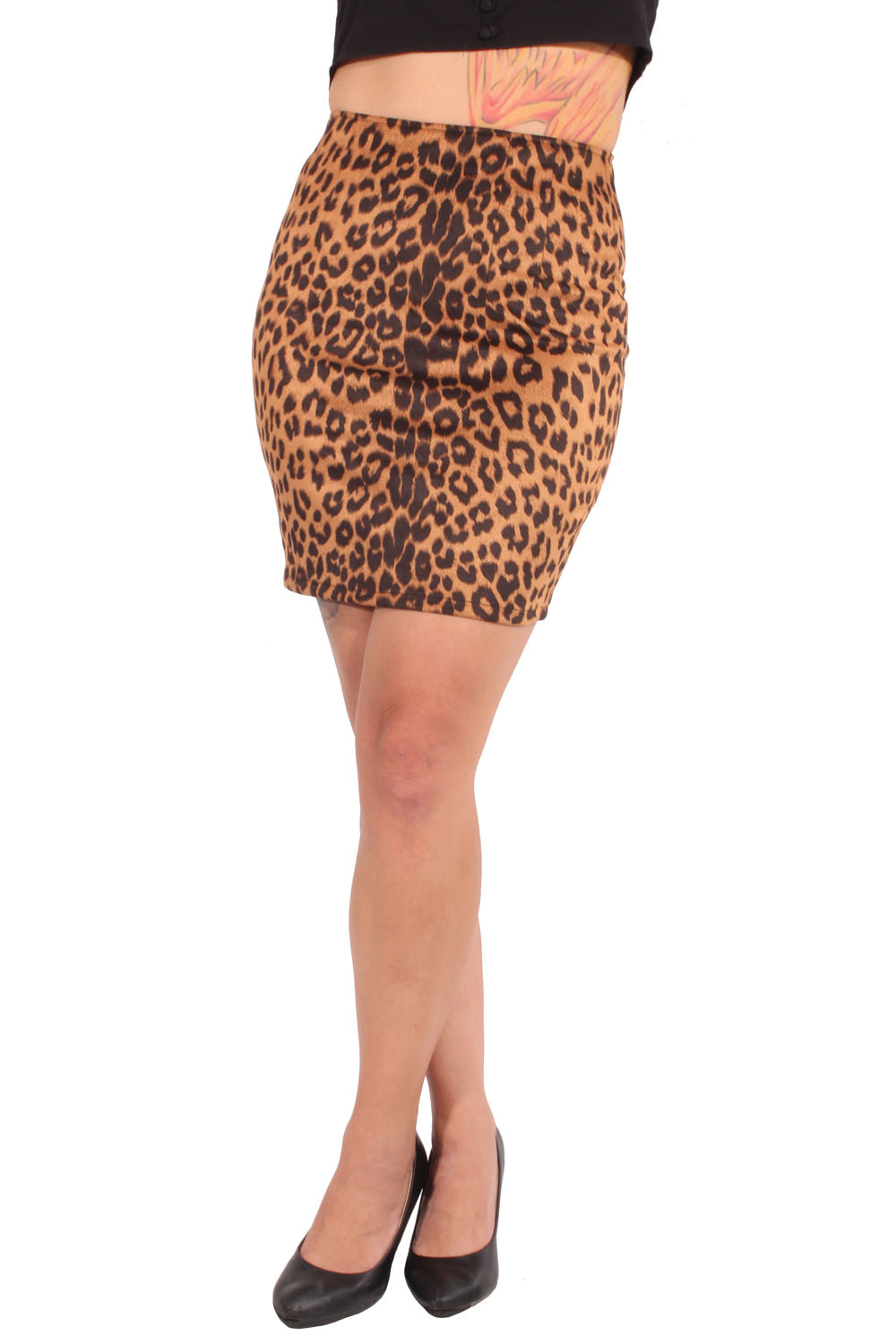 Leo pin up rockabilly Leoparden Pencil Rock Minirock braun