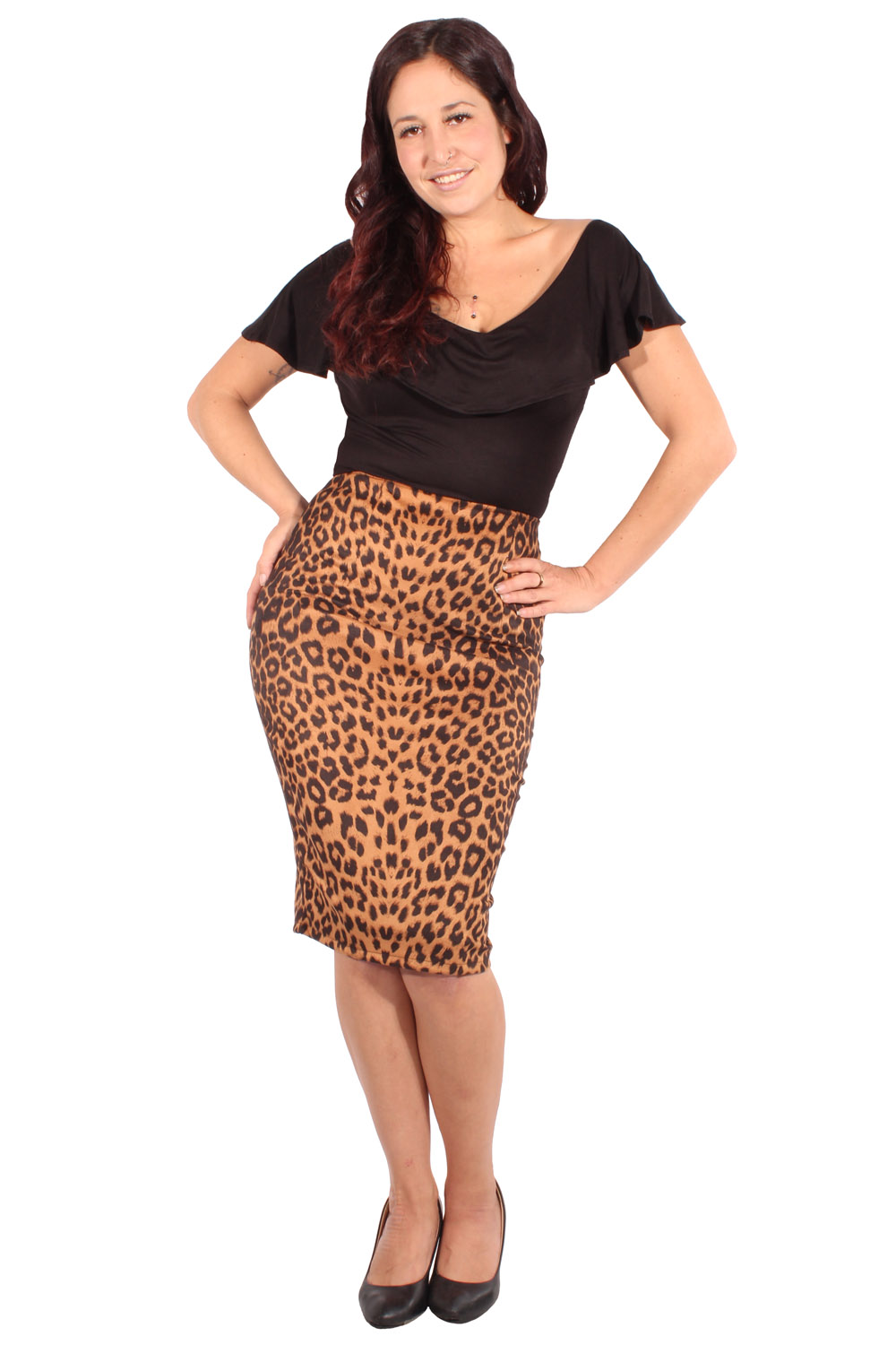 Leo pin up rockabilly Leoparden Pencil Rock retro Bleistiftrock
