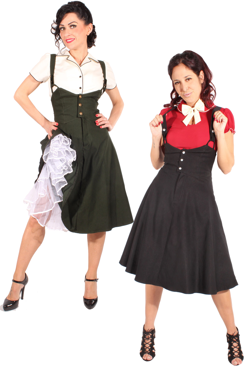 High waisted rockabilly Hosenträger Vintage Latzrock Swing Rock