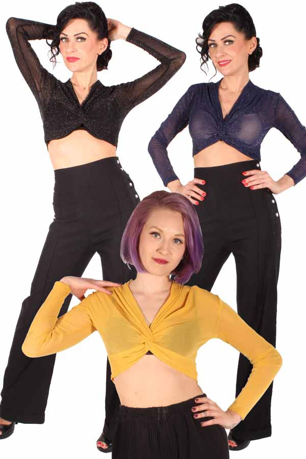 retro Glitzer rockabilly Glitter Crop Top langarm Mesh Shirt