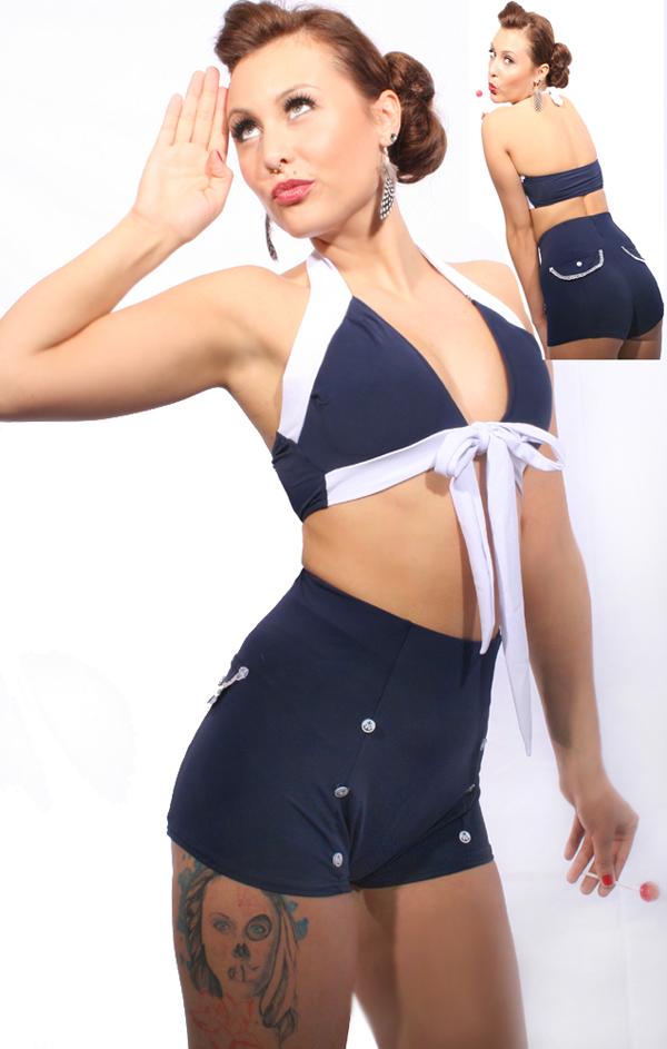 40s/50s retro Matrosen pin up Rockabilly Sailor High Waist Uniform Bikini