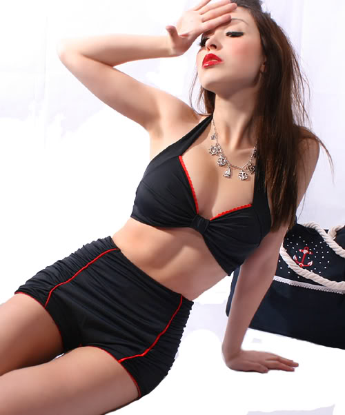 40s Retro Sailor pinup Vintage Ruffle Rockabilly Bikini