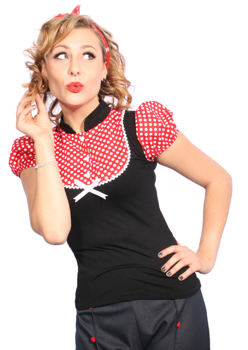 Süßes 50s POLKA DOTS retro pin up Rockabilly Punkte Puffärmel Bluse Shirt