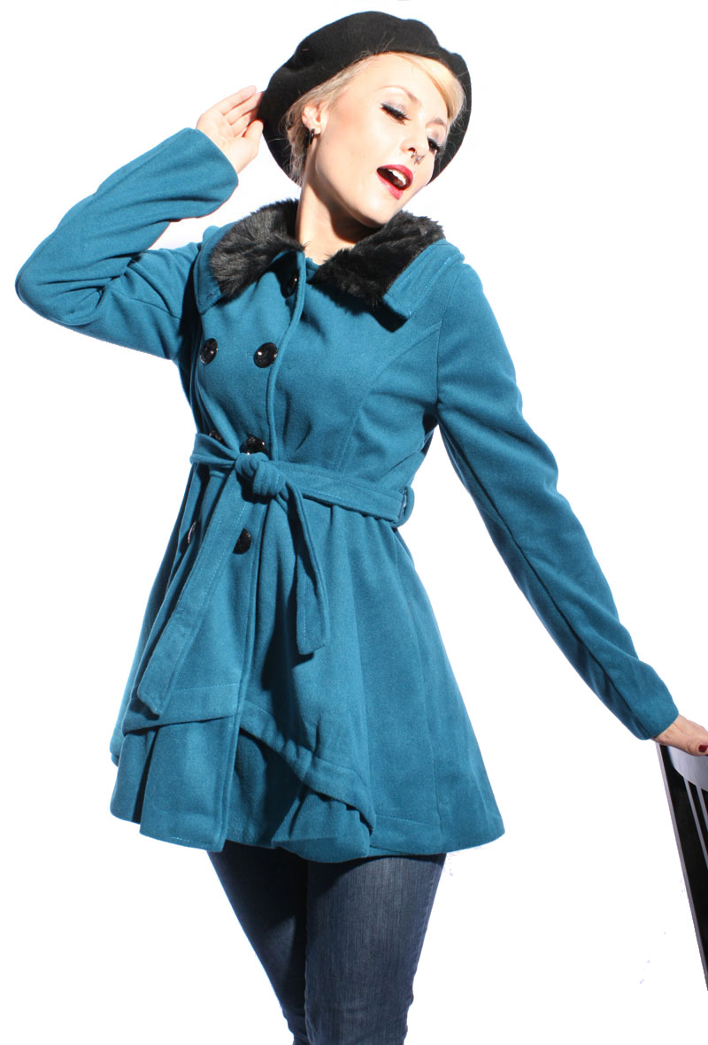 pin up Winter rockabilly Wollmantel Fellkragen Mantel Jacke Trenchcoat
