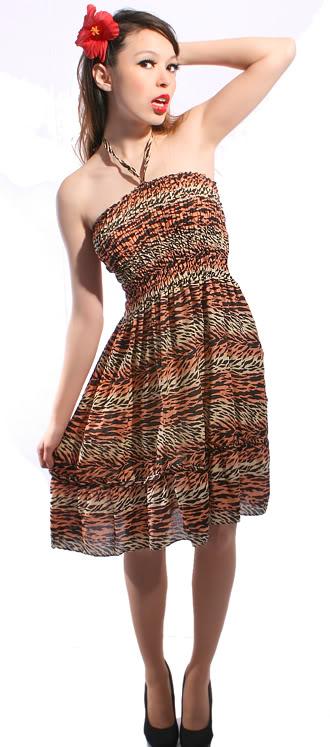 TIGER Stretch Strand Kleid Leoparden LEO Neckholder Bandeau Strandkleid
