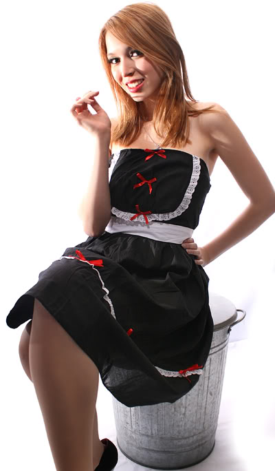 French Maid Rüschen rockabilly pin up Bandeau Kleid