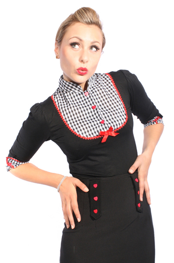 Süßes GINGHAM retro pin up Rockabilly Karo Puffärmel Bluse Shirt Longsleeve