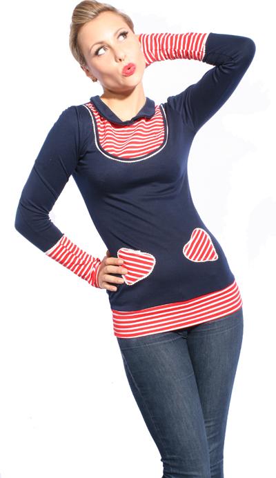 SAILOR Streifen Rockabilly Puffärmel Longshirt Shirt Heart Longsleeve