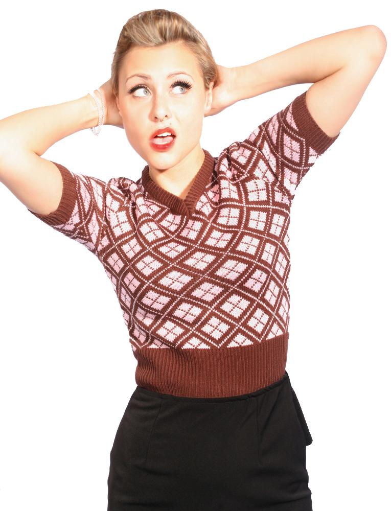40s/50s RETRO Strickshirt vintage ARGYLE Strick Shirt Strickpulli