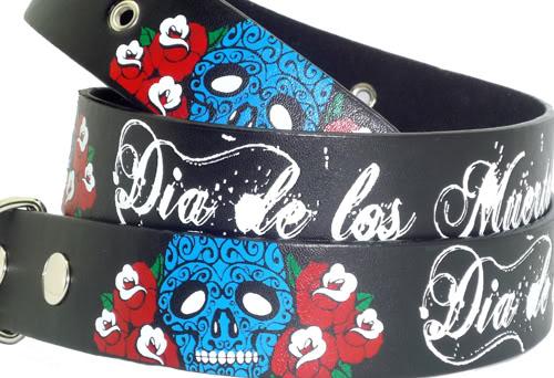 Mexican Skull Totenkopf Rosen punk rock Tattoo Gürtel