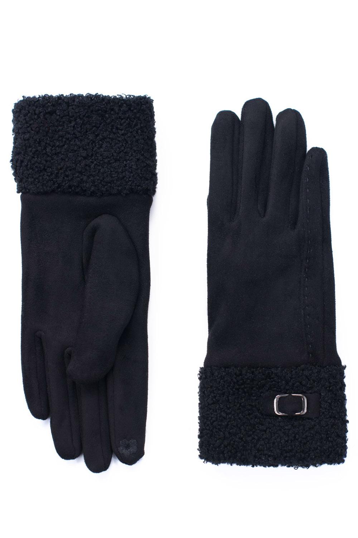 edle vintage Wildlederimitat retro Damen Kunstfell Handschuhe schwarz