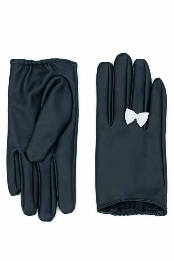 40er rockabilly Kunstleder Handschuhe retro Damen Schleifen Kurzhandschuhe