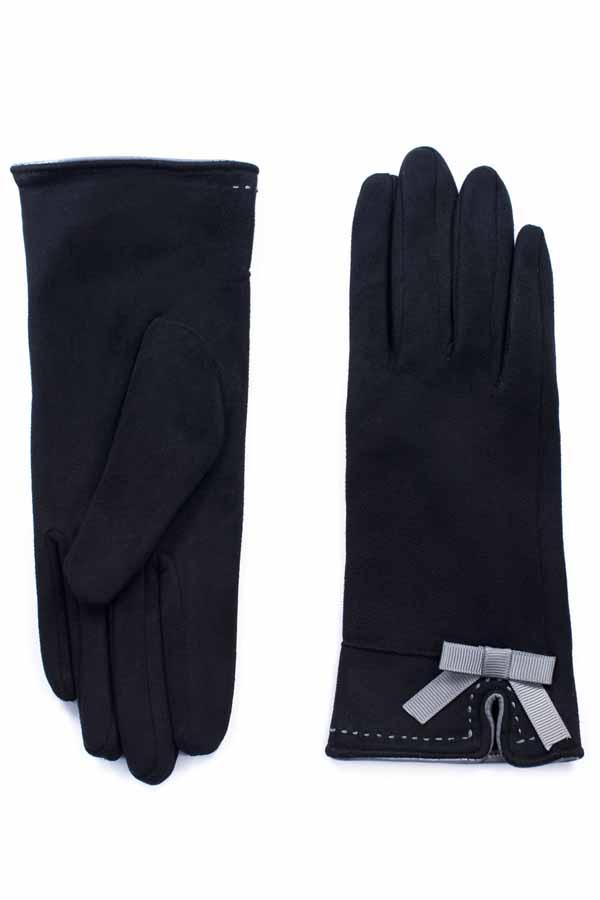 rockabilly Wildlederimitat retro Damen Schleifchen Handschuhe schwarz