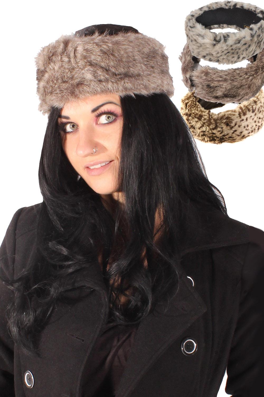 retro Leo Kunstpelz Stirnband Mütze Leoparden Plüsch Ohrenwärmer
