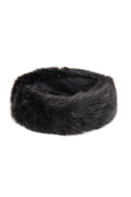 retro Kunstpelz Stirnband Fake Fur Mütze Plüsch Ohrenwärmer schwarz