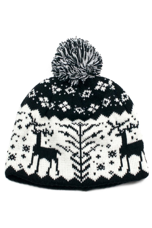 retro Bommel Strickmütze Rockabilly Beanie Weihnachten Norweger Wollmütze