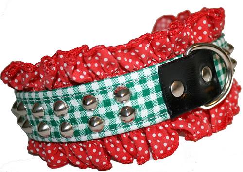 Gingham Karo Polka Dot Punkte Rüsche Nieten Hundehalsband Nietenhalsband